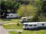 View larger image of Some red flowers with a picnic bench at CAPE ANN CAMP SITE image #3