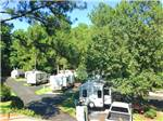 View larger image of White travel trailers camping at campsite and green trees at AMERICAN HERITAGE RV PARK image #1