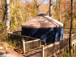 View larger image of Blue and tan round yurt at CAMPFIRE LODGINGS image #2