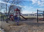 View larger image of Brightly colored playground with slide and swings at CAMPING WORLD RACING RESORT image #4