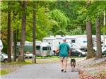 View larger image of Man walking dog at campgrounds at PA DUTCH COUNTRY RV RESORT image #6