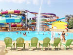 View larger image of A row of green chairs facing the waterpark at NASHVILLE SHORES LAKESIDE RESORT image #12