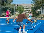 View larger image of Campers playing pickleball on blue tinted court at CATALINA SPA AND RV RESORT image #6