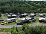 View larger image of A close up aerial view of the campsites at KOA BAS-ST-LAURENT CAMPGROUND image #9