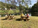 View larger image of A couple sitting on a picnic bench overlooking the water at VALLEY RIVER RV RESORT image #8