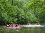 View larger image of A group of people rafting down the river at PIGEON RIVER CAMPGROUND image #2