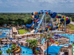 View larger image of Aerial view over campground of waterpark at SPLASHWAY WATERPARK  CAMPGROUND image #2