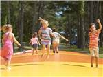 View larger image of Row of white golf carts with tan roofs lined up alongside of golf course at OUTER BANKS WEST KOA image #5