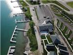 View larger image of An aerial view of the boat slips at BIG ARM RESORT  MARINA image #3