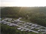 View larger image of Aerial view over motorhomes and lake at DENTON FERRY RV PARK  CABIN RENTAL image #1