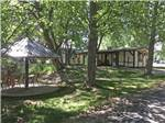 View larger image of Shaded patio area with butterfly sculptures at UNCOMPAHGRE RIVER ADULT RV PARK image #3