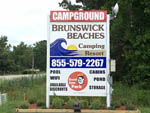 View larger image of The front entrance sign at BRUNSWICK BEACHES CAMPING RESORT image #6