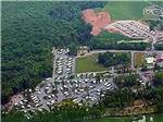 View larger image of Aerial view over campground at TWIN GROVE RV RESORT  COTTAGES image #12