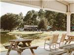 View larger image of A sitting area looking at the lake at LAKESIDE RV PARK image #8