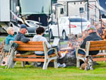 View larger image of People and a dog relaxing on benches at HOQUIAM RIVER RV PARK image #5