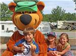 View larger image of Kids with mascot at MEMPHIS JELLYSTONE CAMP RESORT image #1