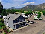 View larger image of An aerial view of the front building and RV sites at TRI CITY RV PARK image #1