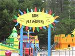 View larger image of Colorful sign at the entrance to the playground at FRIENDLY BEAVER CAMPGROUND image #2
