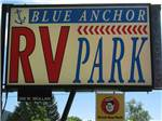 View larger image of Sign leading into campground resort at BLUE ANCHOR RV PARK image #6