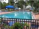View larger image of Rectangular swimming pool surrounded by iron fencing and lounge chairs and large shade umbrella at SUNSHINE HOLIDAY DAYTONA RV RESORT image #1