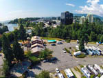 View larger image of Aerial view over campground at CAPILANO RIVER RV PARK image #7