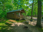 View larger image of Cabin surrounded with trees and a picnic table at FOX HILL RV PARK  CAMPGROUND image #3