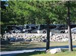 View larger image of A row of Class A motorhomes parked along rocks at LAKE GEORGE RIVERVIEW CAMPGROUND image #1