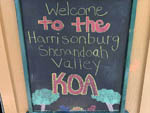View larger image of Chalkboard with welcome message at HARRISONBURGSHENANDOAH VALLEY KOA image #1