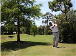 View larger image of Man golfing at ROAD RUNNER TRAVEL RESORT image #2