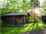 View larger image of Rustic log cabin with sun peeking through large trees at NARROWS TOO CAMPING RESORT image #3