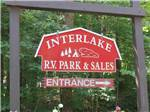 View larger image of Sign at entrance to RV park at INTERLAKE RV PARK  SALES image #1