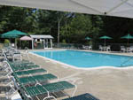 View larger image of Green lounge chairs surrounding crystal clean community pool at INTERLAKE RV PARK  SALES image #6