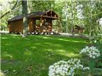 View larger image of Peaceful log cabin with lush grassy area surrounding at BLACKHAWK CAMPING RESORT image #4