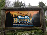 View larger image of Sign at entrance to RV park at BISSELLS HIDEAWAY RESORT image #1