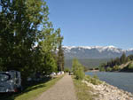 View larger image of Riverside path with distant mountains at GOLDEN MUNICIPAL CAMPGROUND image #5