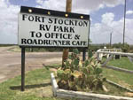 View larger image of Sign at entrance to RV park at FORT STOCKTON RV PARK image #8