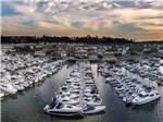View larger image of Aerial view of many boats docked in harbor at sunset at NEWPORT DUNES WATERFRONT RESORT  MARINA image #11