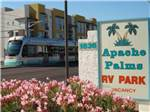 View larger image of Sign at entrance to RV park at APACHE PALMS RV PARK image #1