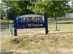 View larger image of Sign at entrance to RV park at THE BLUE OX RV PARK image #1