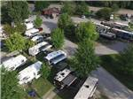 View larger image of Aerial view of multiple RVs and red barn at CAHOKIA RV PARQUE image #8