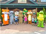 View larger image of Kids with mascots at LAKE GEORGE ESCAPE CAMPING RESORT image #4