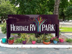 View larger image of Sign at entrance to RV park at HERITAGE RV PARK image #2