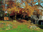 View larger image of Fall colored trees beside a wooden barn at CREEKWOOD FARM RV PARK image #8