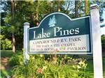 View larger image of Sign leading into RV park at LAKE PINES RV PARK  CAMPGROUND image #7