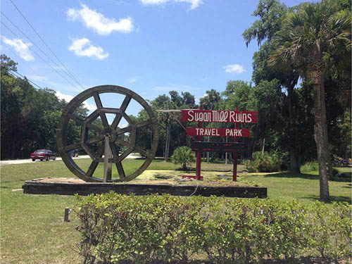 SUGAR MILL RUINS TRAVEL PARK at NEW SMYRNA BEACH, FL
