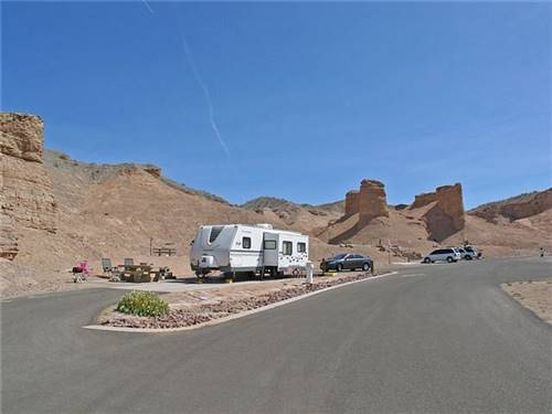 RV site with interesting geological formations in view
