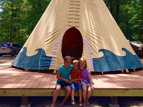 Come camp out in our Holly Lake Teepees!