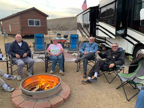 Socialize around the fire pits