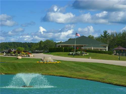 Grand Clubhouse entrance to Traverse Bay RV Resort