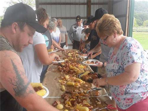 The Annual Shrimp Boil is a very popular activity for the whole family--and yummy, too